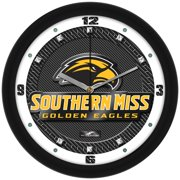 Suntime ST-CO3-SME-CFCLOCK Southern Mississippi Eagles-Carbon Fiber Textured Wall Clock