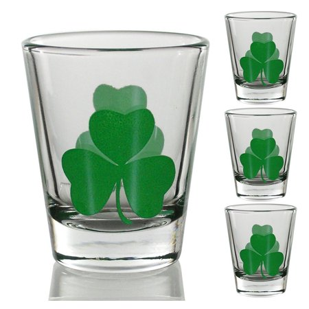 Irish Shot Glasses Clear with Green Shamrocks Set of 4 St. Patrick's Day (Greens Design Collectible Shot Glass)