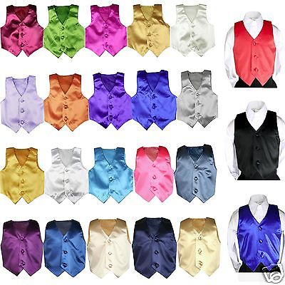 23 color Satin Vest only Boys Teens Men Formal Party Graduation Tuxedo Suit - Yellow Jacket Superhero