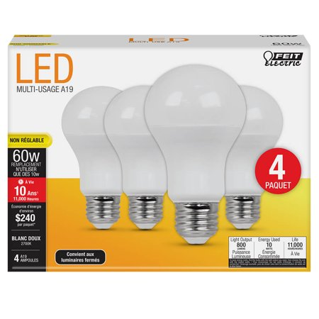 Feit Electric 60 Watt Equivalent Soft White A19 Non-Dimmable LED light Bulb, 4 Pack