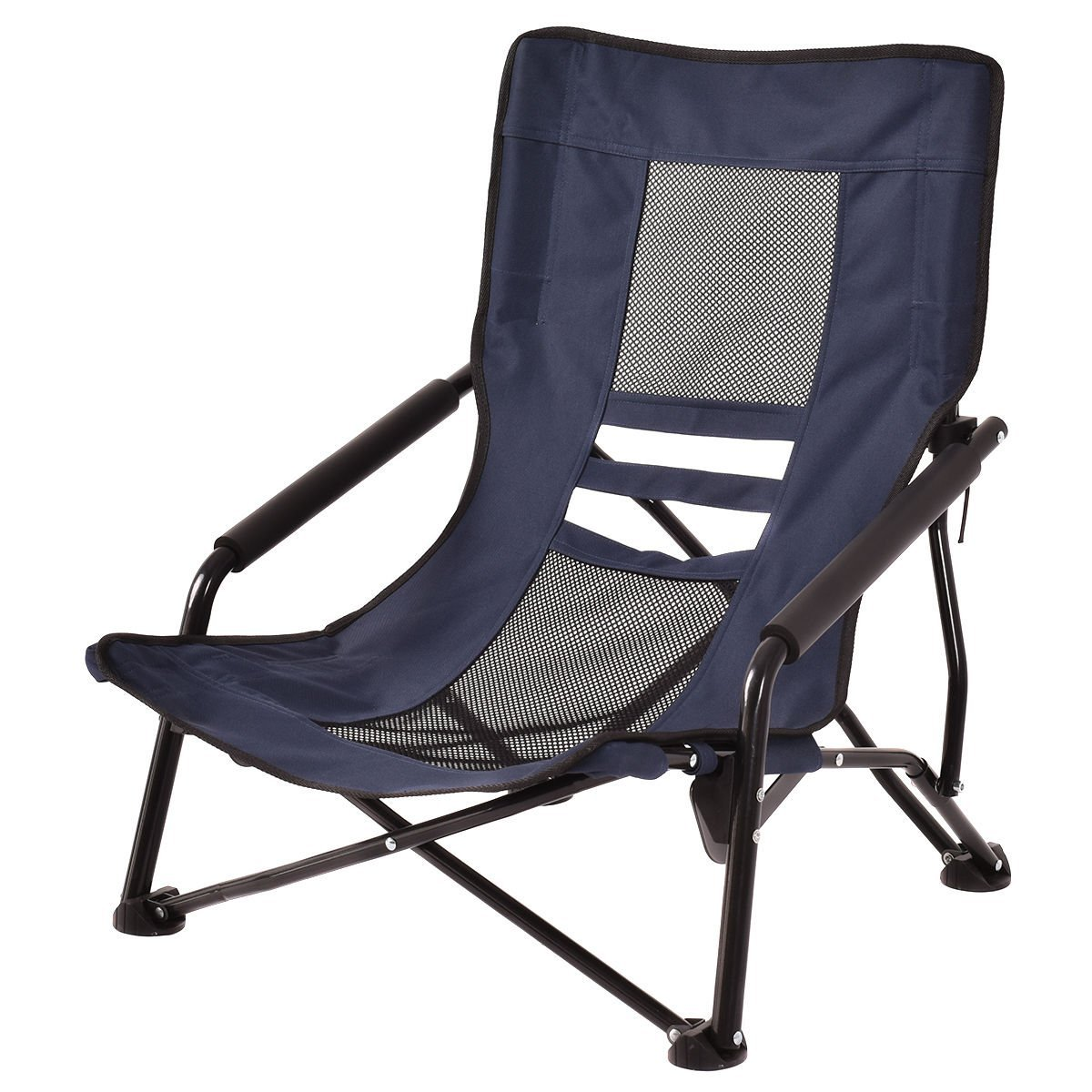 Outdoor High Back Folding Beach Chair Camping Furniture Portable Mesh Seat (Blue) By Giantex