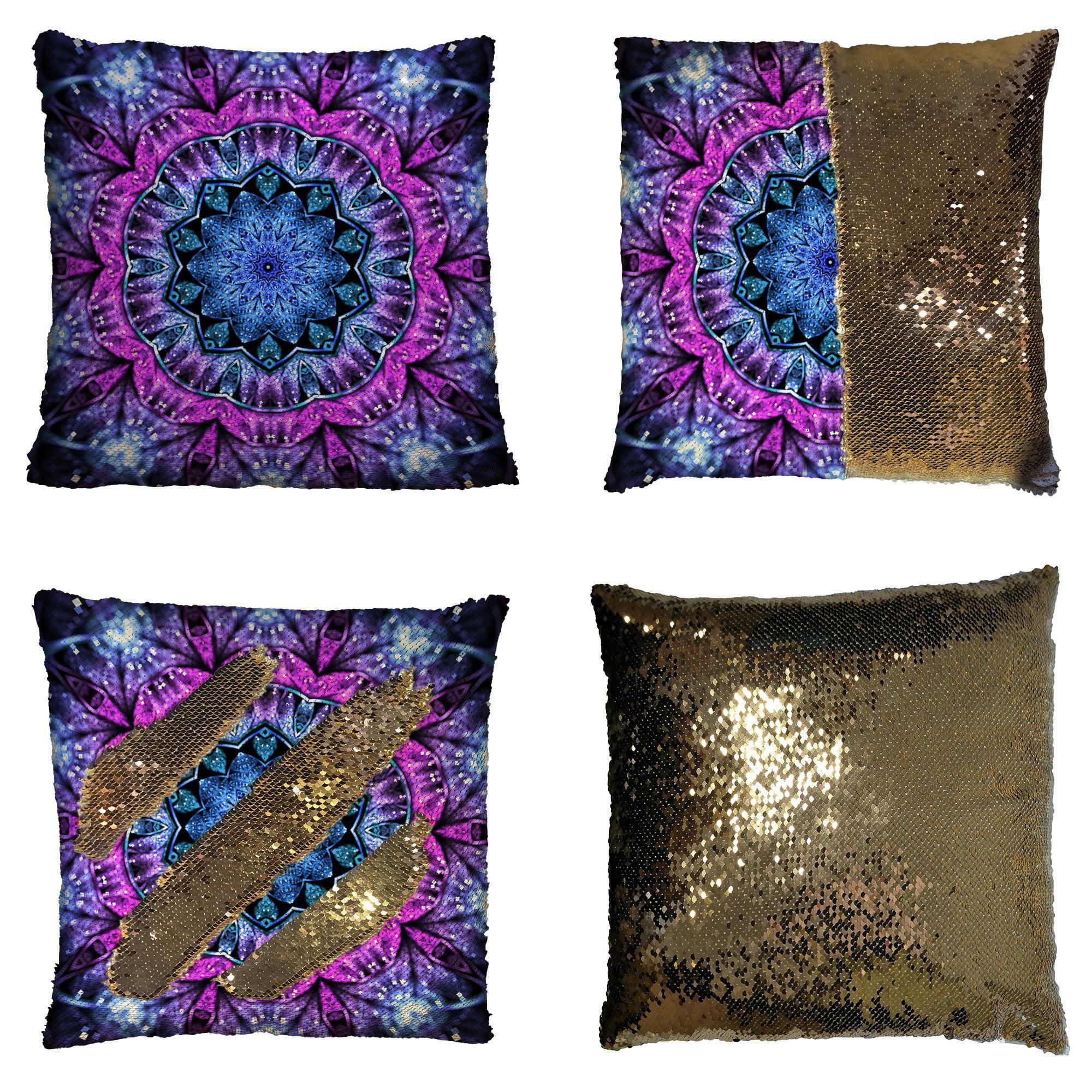 GCKG Floral Art Pillowcase, Glossy Blue and Purple Fractal Mandala Reversible Mermaid Sequin Pillow Case Home Decor Cushion Cover 16x16 inches