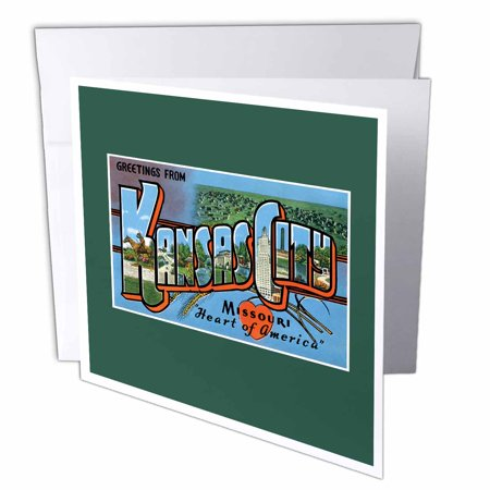 - 3dRose Greetings from Kansas City Missouri Heart of America Scenic Postcard - Greeting Cards, 6 by 6-inches, set of 12