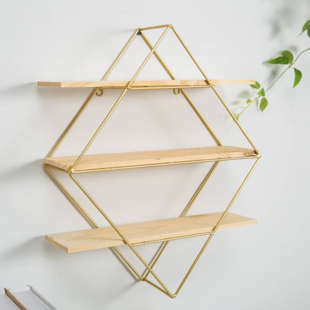 Iron Round/Rhombus Grid Hanging Wall Shelf Rack Bookcase Storage Holder Floating Display Home Decoration (only wall