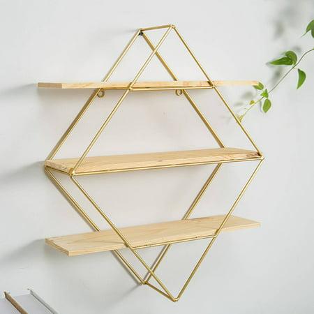 Round/Rhombus Iron Grid Hanging Wall Shelf Rack Bookcase Storage Holder Floating Display Home Decoration (only wall shelf)](Shelf Decorations)