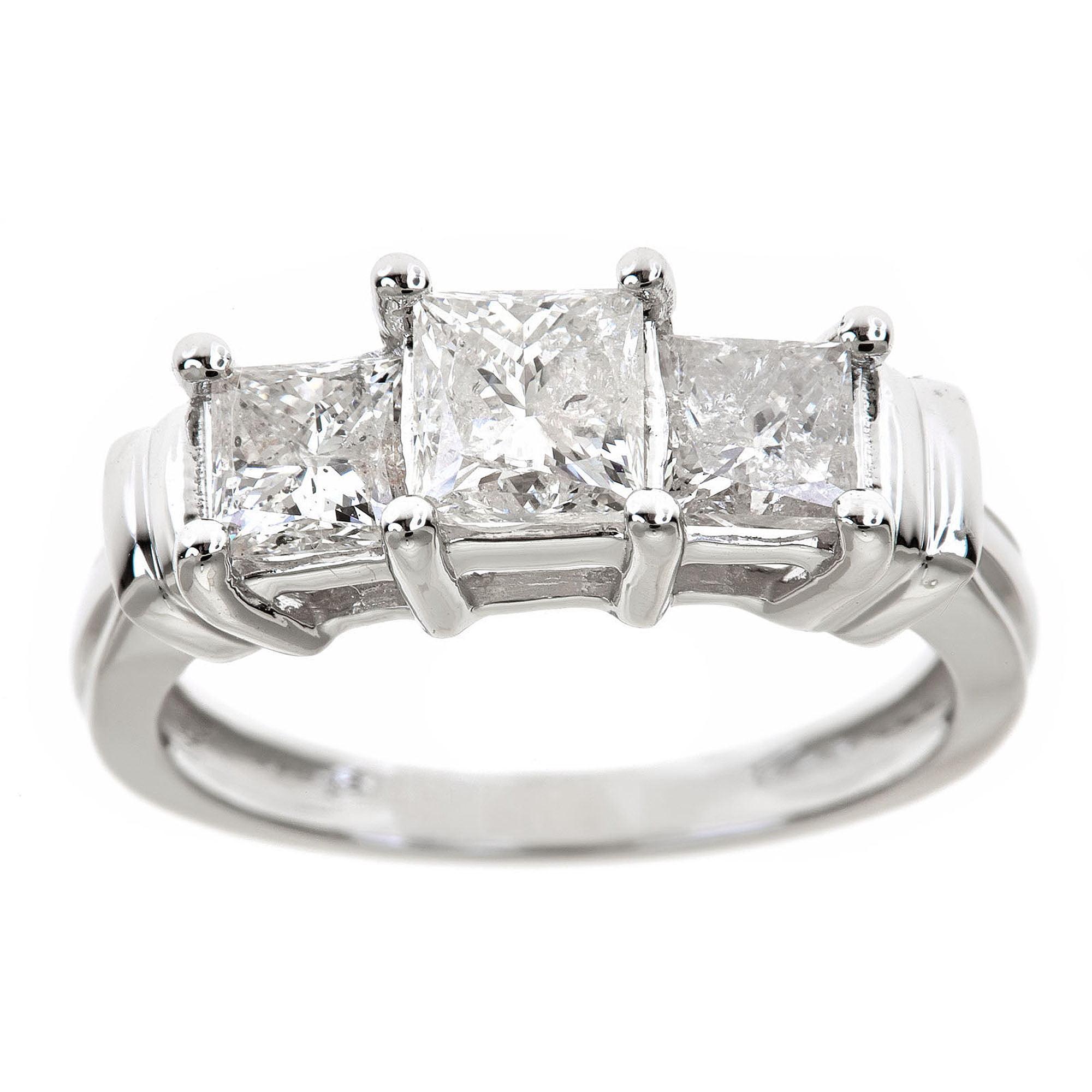 1-1/2 Carat T.W. Genuine Princess White Diamond 14kt White Gold 3 Stone Ring, IGL Certified