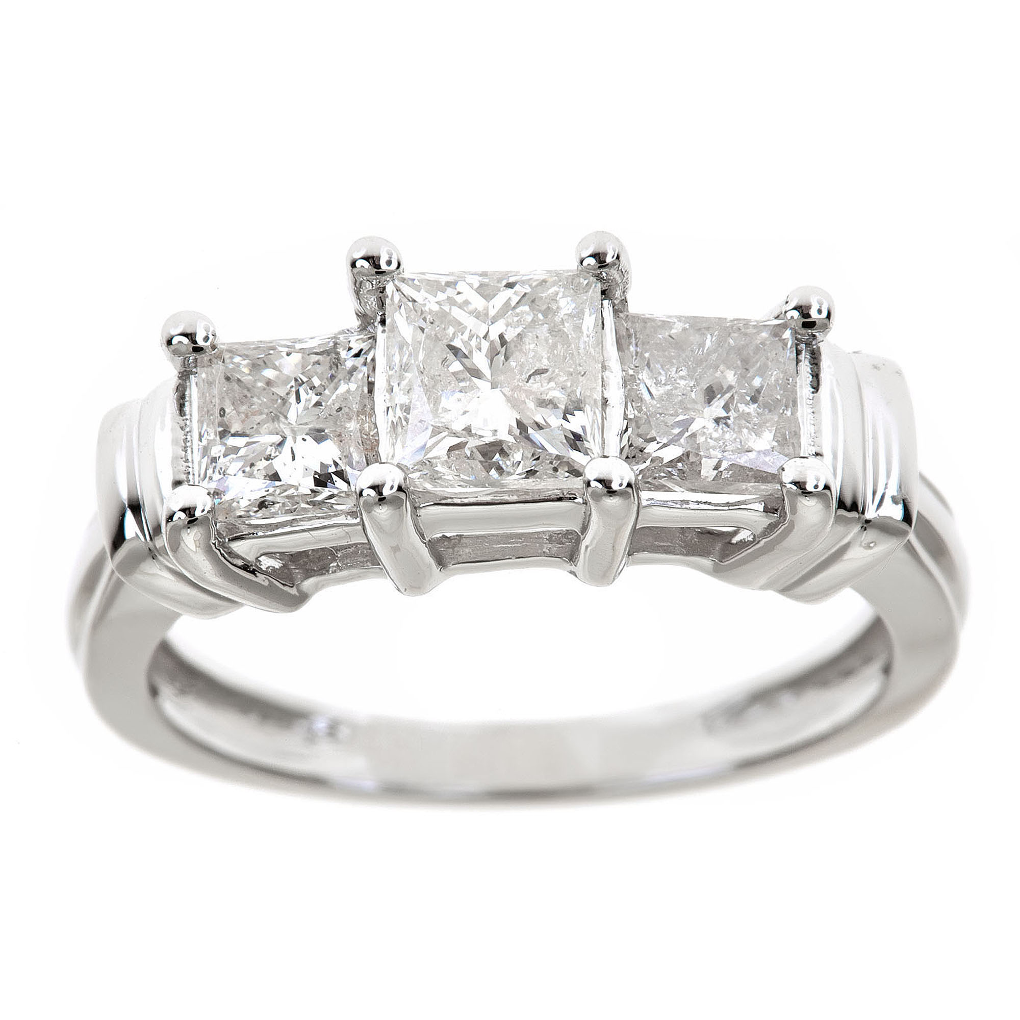 1-1/2 Carat T.W. Genuine Princess White Diamond 14kt White Gold Three-Stone Ring, IGL Certified