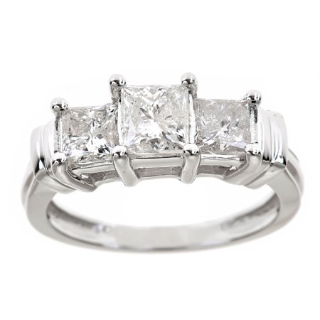 1-1/2 Carat T.W. Genuine Princess White Diamond 14kt White Gold Three-Stone Ring, IGL Certified 3 Stone Princess Ring Setting