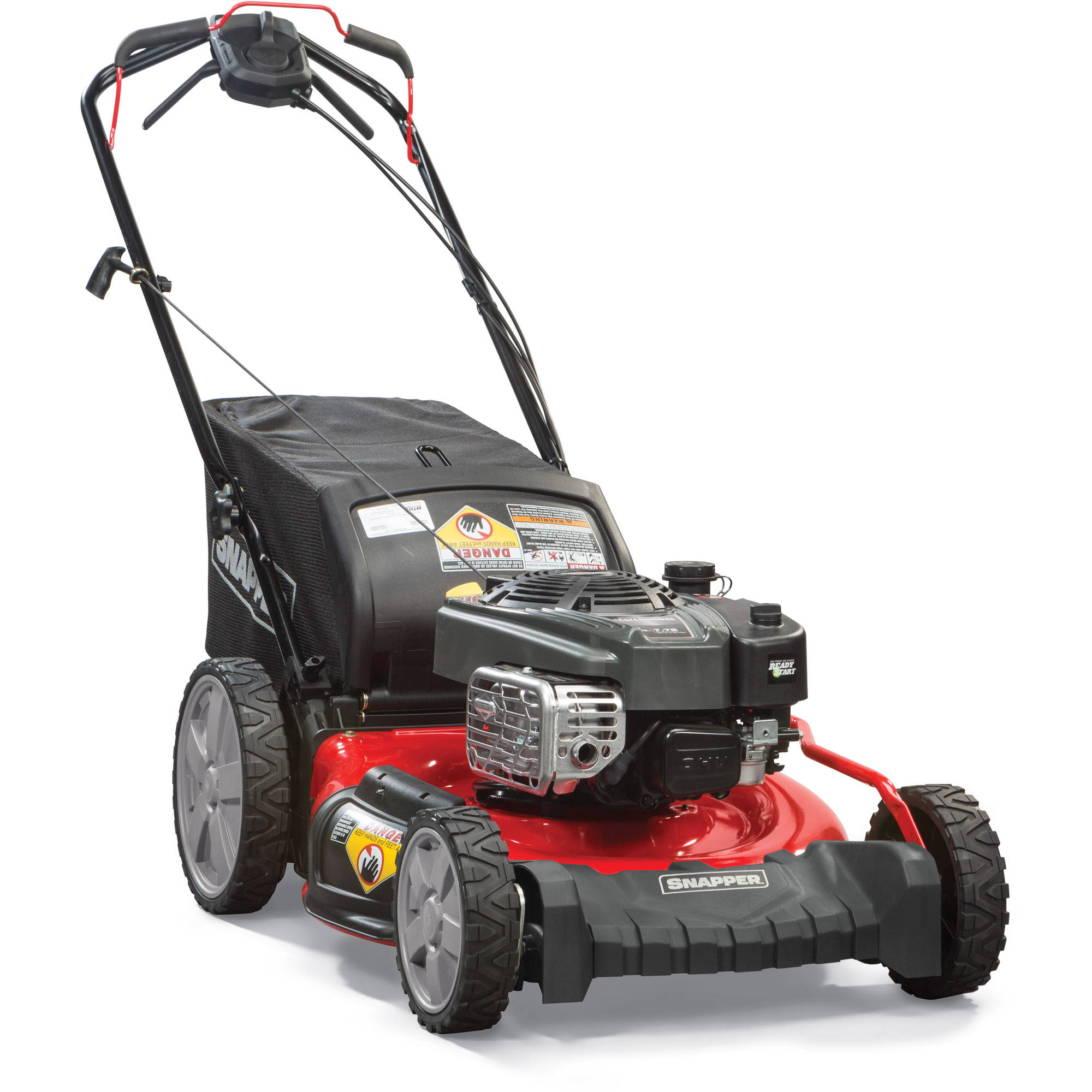 "Snapper 21"" Self Propelled Gas Rear Wheel Drive Mower with Side Discharge, Mulching, Rear Bag and Rear High Wheel"