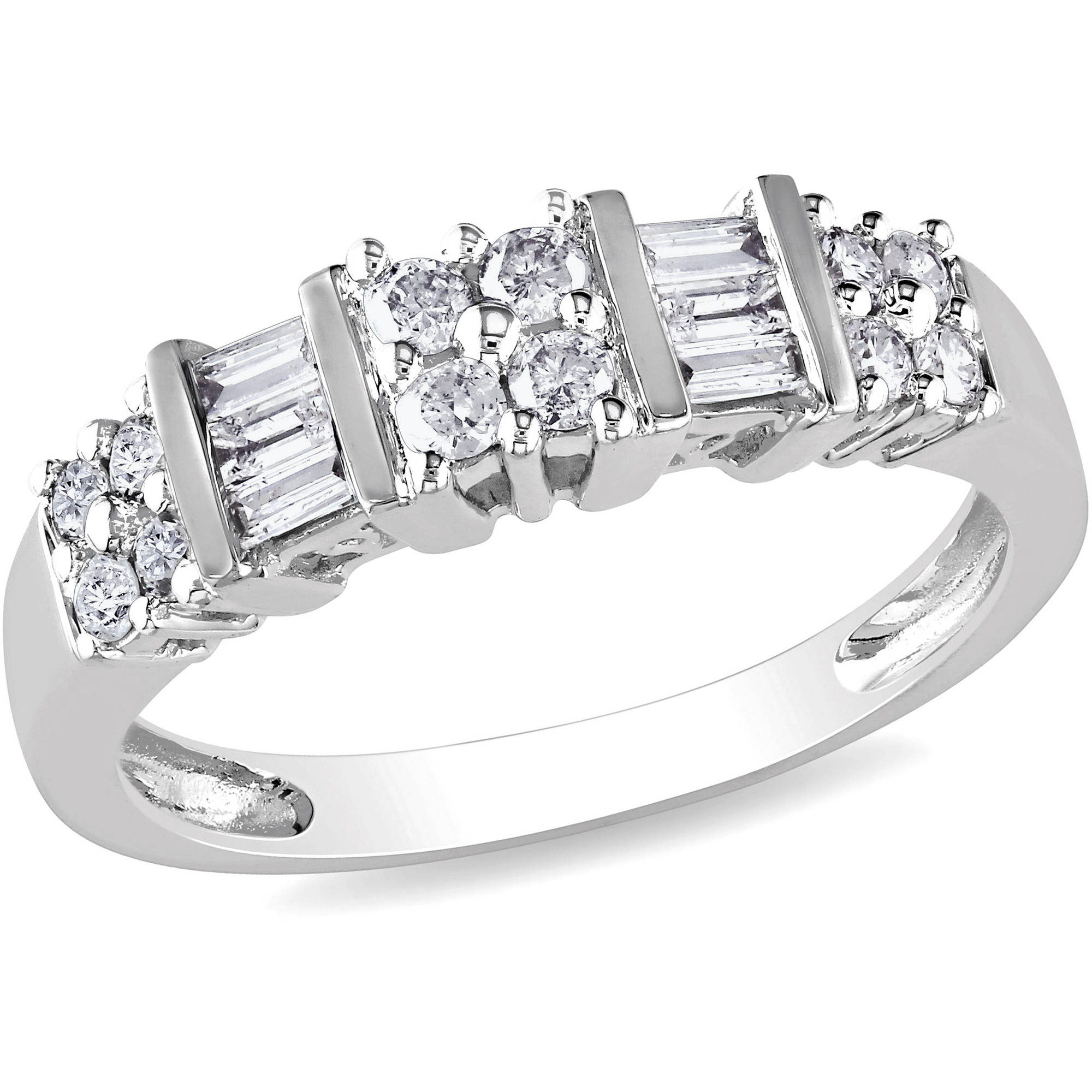 Miabella 1/2 Carat T.W. Round and Baguette-Cut Diamond Wedding Band in 10kt White Gold