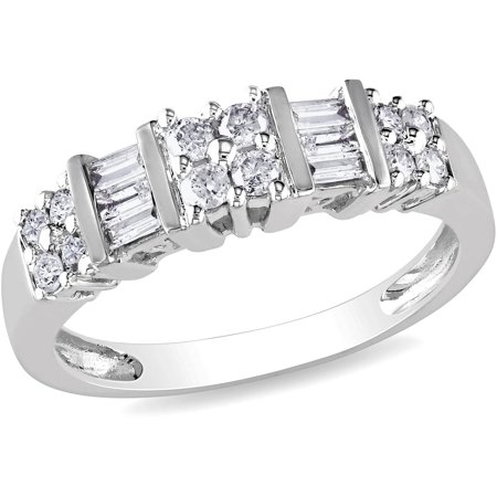 Miabella 1 2 Carat TW Round And Baguette Cut Diamond Wedding Band In 10kt