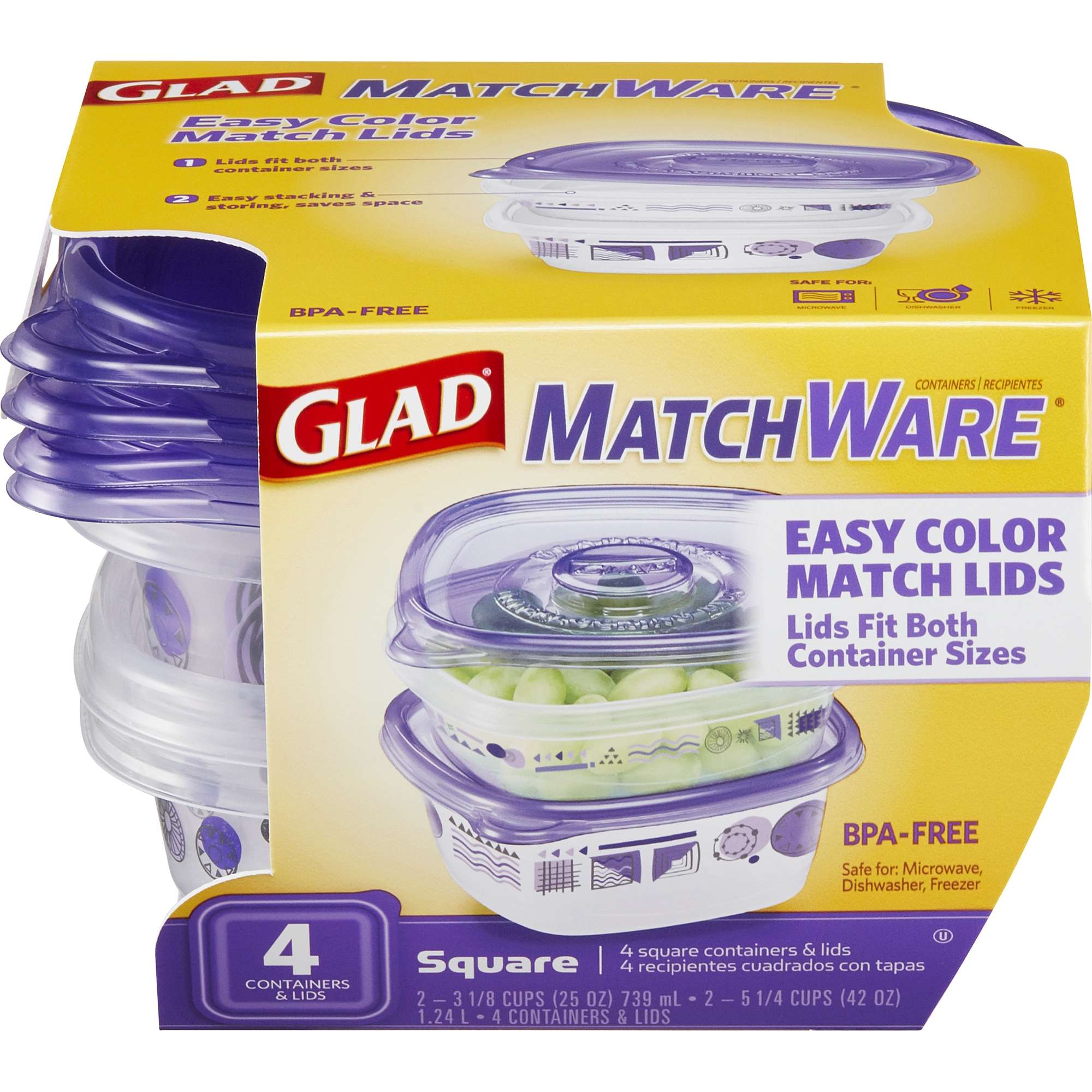 Glad Food Storage Containters - Glad MatchWare Square Containers - Two 25 oz - Two 42 oz