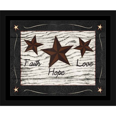 Faith, Hope, Love Primitive Star Folk Americana Wood Grain Inspirational Painting Black & White, Framed Canvas Art by Pied Piper Creative (Framed Inspirational Art)