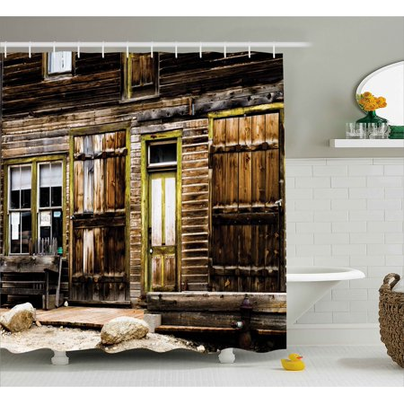 Rustic Decor Shower Curtain, Old Wooden Plank House with Antique ...