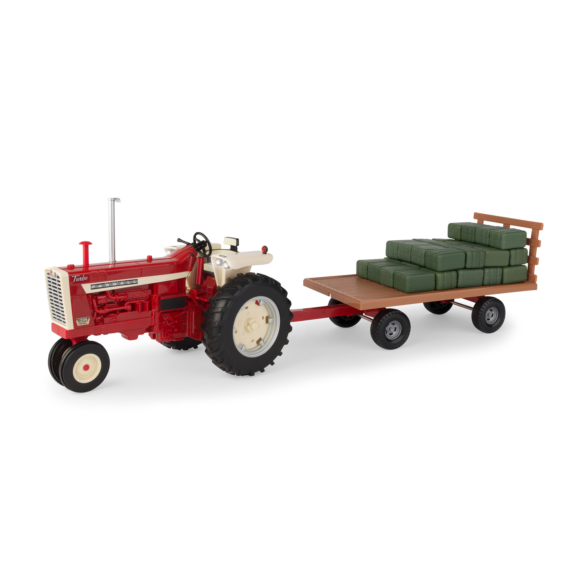Big Farm 1:16 IH 1206 Narrow Front Tractor with Hay Wagon and Bales by TOMY