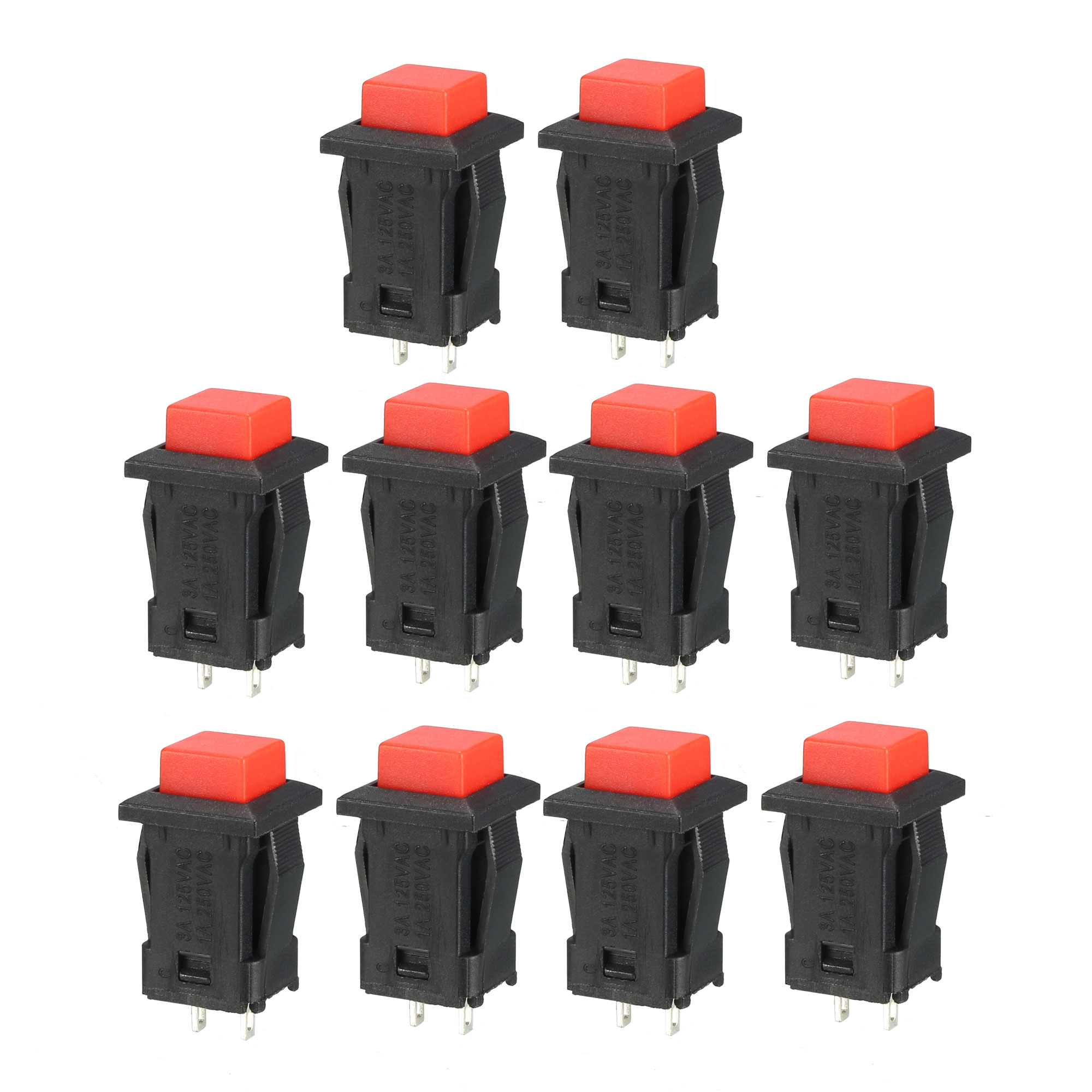 12mm Mounting Hole Red Square Latching Push Button Switch SPST NO 10pcs - image 4 of 4