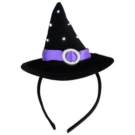 Cute Girls LED Flashing Witch Hat Fun Halloween Costume Party Accessory Kids Grunge Headband Witches Hats Black (Witch Hat Costume)