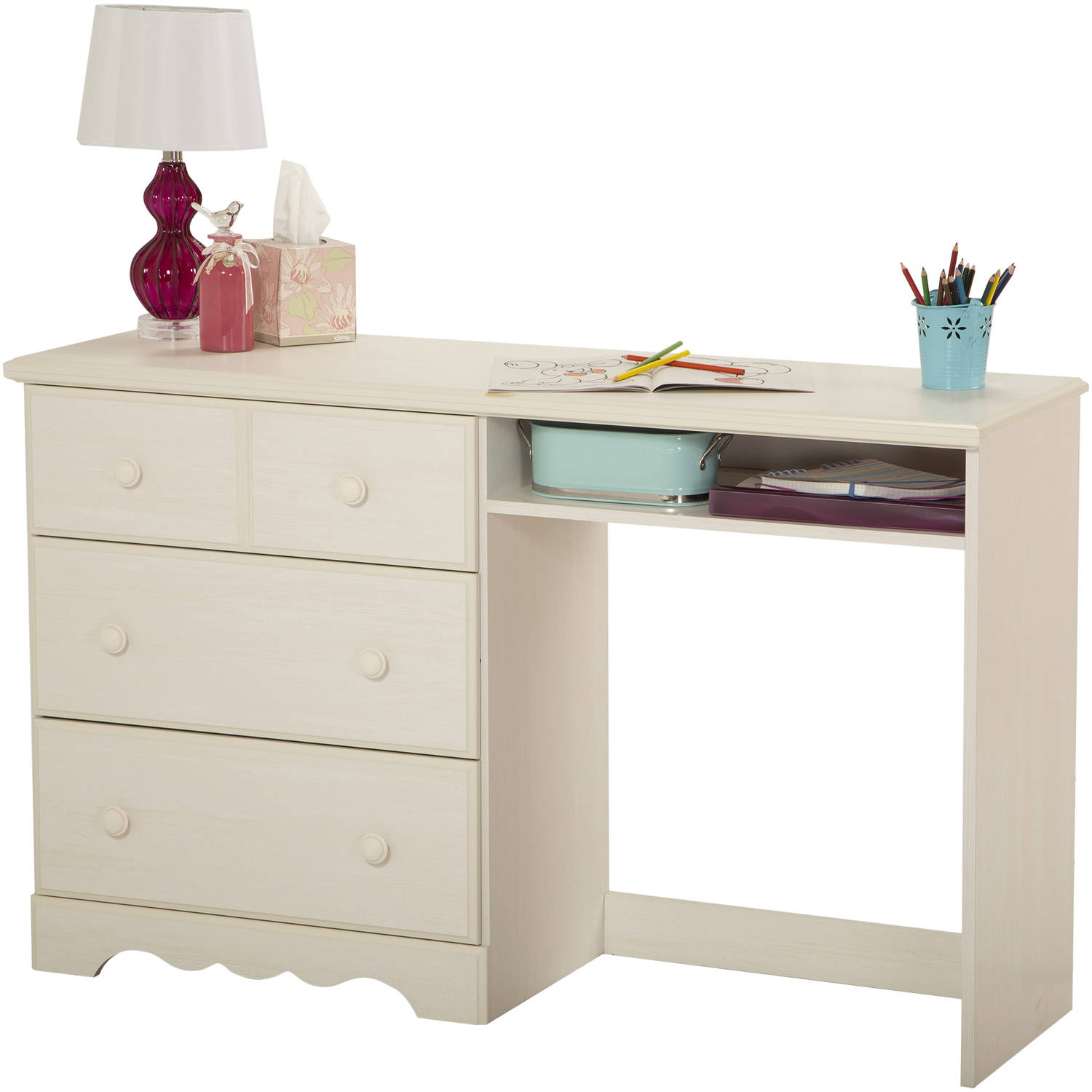 South Shore Summer Breeze Kids Desk with 3 Drawers, White Wash