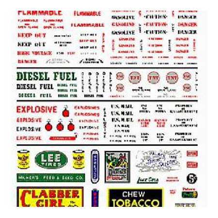 Data-Warning Labels & Comm.Signs Dry Transfer Decals Woodland Scenics
