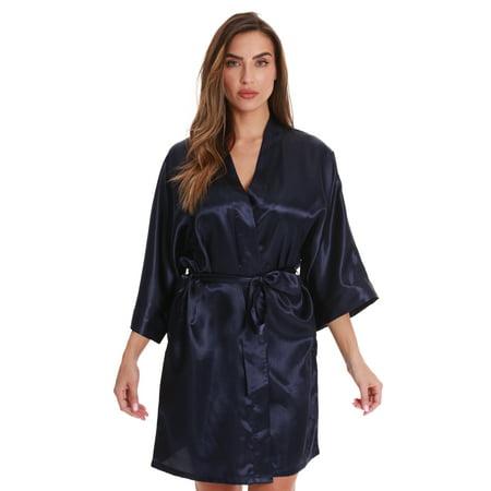 Just Love Womens Satin Solid Kimono Robe 6756-PNK-M (1X, Navy) (Womens Satin Robes Short)