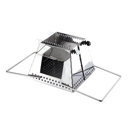 Portable Stove Stainless Steel Folding Wood Stove with Handles for Backpacking Camping ()