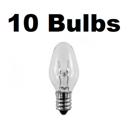 Box of 10 Night Light / Candle Lamp Bulbs -7 watt, C7, Clear, Candelabra (7C7C)
