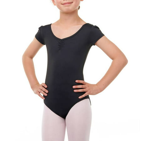 Girls Black Long Sleeve Leotard (Danskin Now Girls' Premium Nylon Cap Sleeve Leotard with Front Liner (Little & Big)