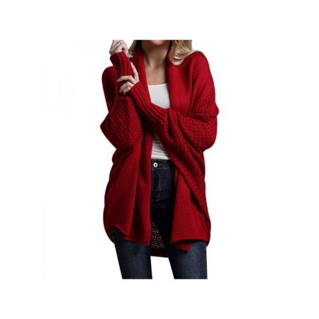 Autumn And Winter New Knit Cardigan Solid Coloar Bat Sleeve Sweater Coat For Women