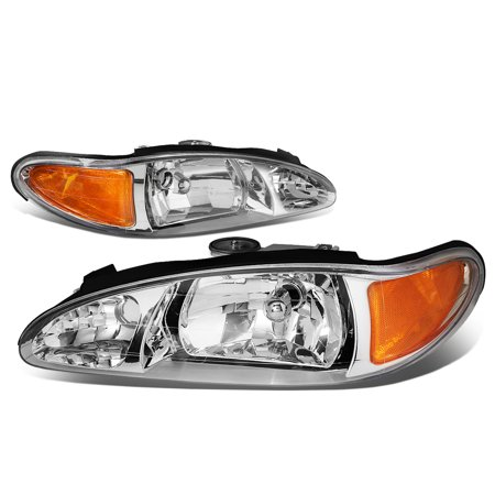 For 1997 to 2002 Ford Escort Headlight Chrome Housing Amber Corner Headlamp 98 99 00 01 LX SE ZX2 S / R 4 -Door Sedan 98 99 00 01 Left+Right