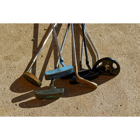 Canvas Print Second Hand Rusty Clubs Old Golf Clubs Golf Putters Stretched Canvas 10 x