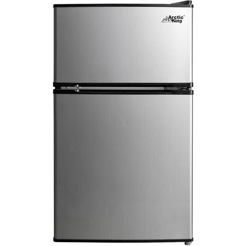 Arctic King 3.2 cu ft 2-Door Compact Refrigerator, Stainless Steel Look