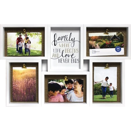 Mainstays 28 X 14 Burlap 5 Openings Sentiment Collage Frame