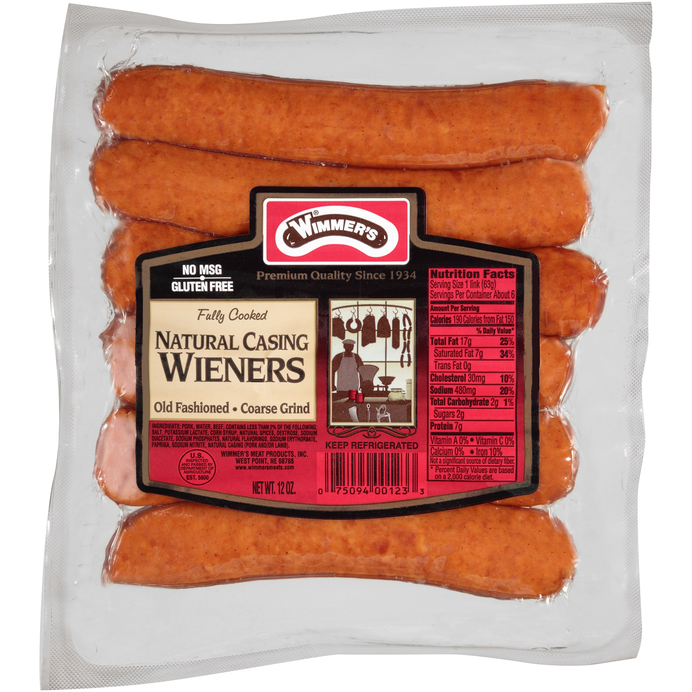 Wimmer's® Natural Casing Coarse Grind Wieners 6 ct Pack