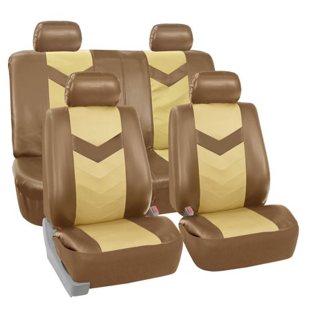 Tan Headrest (FH Group Faux Leather Synthetic Leather Auto Seat Cover, 4 Headrests Full Set, Beige and)