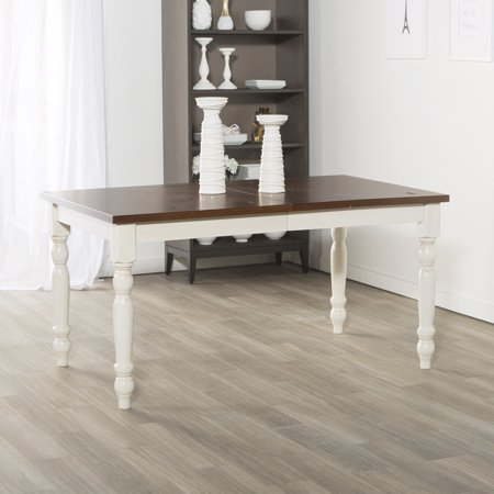 60 Solid Wood Turned Leg Dining Table Brown White