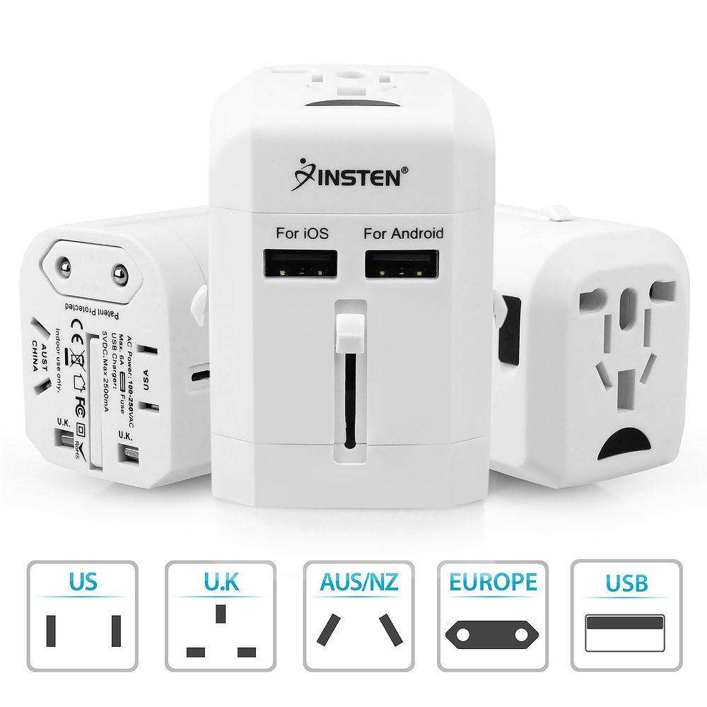 Worldwide All In One Universal Power Adapter International Travel Adapter by Insten Travel Adapter AC Wall Socket Adapter w/ 2.5A Dual USB Charging Ports (US UK EU EURO EUROPE AU CN CHINA WORLD) White