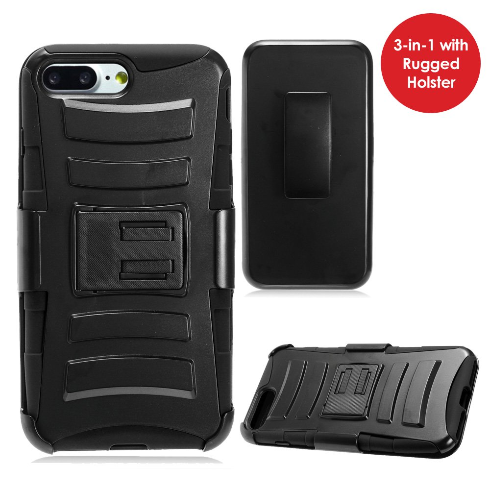 iPhone 7 Plus Case Tempered Glass Combo Kit, Rugged TUFF Hybrid Dual Layer Hard Defender Case with Belt Clip Holster and Premium Protective Shockproof Screen Guard for iPhone 7 Plus, Black/Black