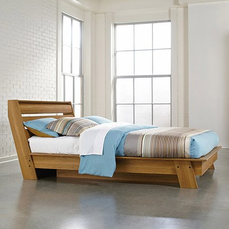 Sauder Soft Modern Queen Platform Bed  Pale Oak. Sauder Soft Modern Queen Platform Bed  Pale Oak   Walmart com