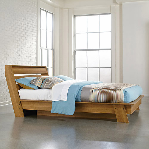 Sauder Soft Modern Queen Platform Bed, Pale Oak