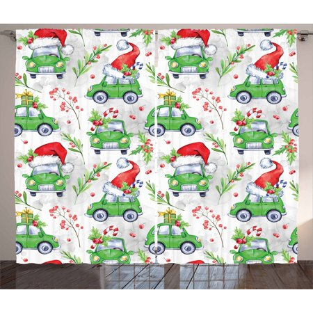 Dark New Year (Cars Curtains 2 Panels Set, Noel New Year Celebrations Christmas Composition with Green Cars Santa Hats, Window Drapes for Living Room Bedroom, 108W X 90L Inches, Lime Green Scarlet, by)