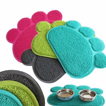 Wedlies Dog Puppy Paw Shape Placemat Pet Cat Dish Bowl Feeding Food PVC Mat Wipe Clean (Food Mat Cat)