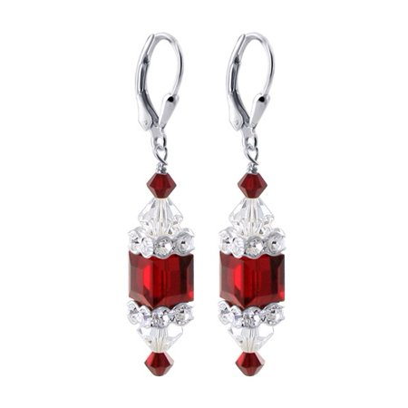 e6b8e5fa8059b Gem Avenue - Gem Avenue 925 Sterling Silver 8mm Red Cube & Clear ...