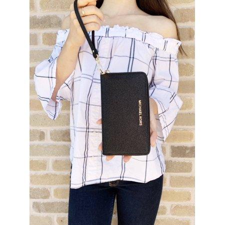 Michael Kors Giftable Large Multifunctional Phone Wristlet Black GIFT BOX