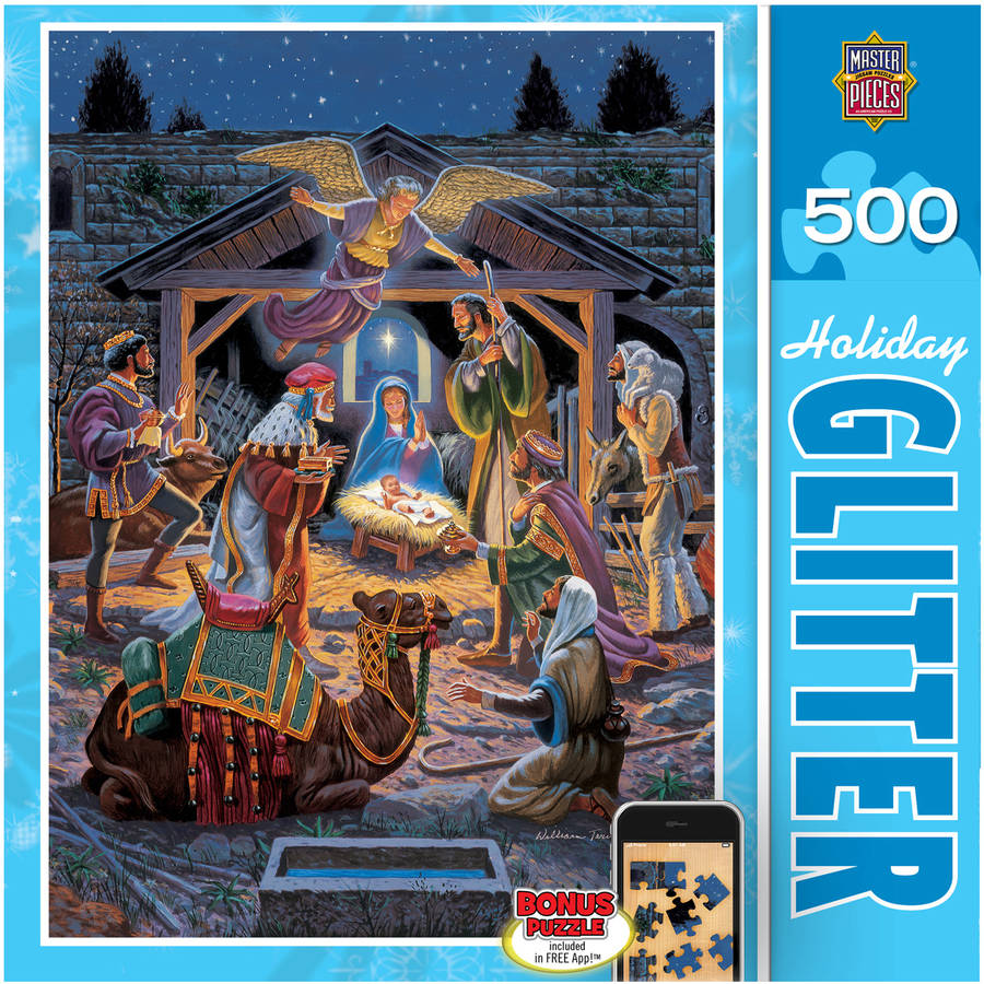 Holiday Glitter Puzzle, Holy Night, 500 Pieces