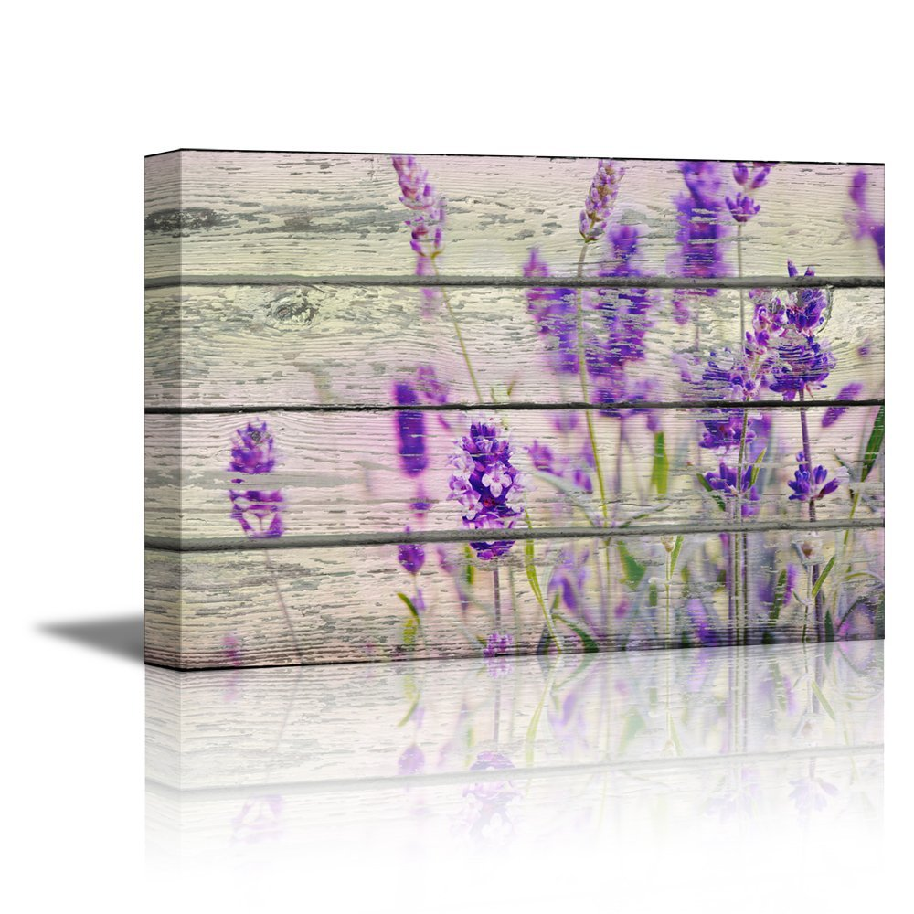 "wall26 Canvas Prints Wall Art - Retro Style Purple Flowers on Vintage Wood Background Rustic Home Decoration - 24"" x 36"""