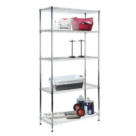 Tidy Living 5 Tier Wire Shelf Chrome Shelving Heavy Duty Storage Organization Rack