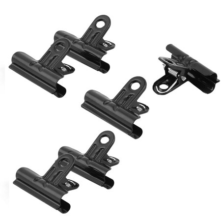 Unique BargainsStationery Metal Spring Loaded File Ticket Binder Clips Bulldog Clip Black 6pcs