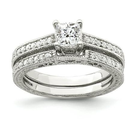925 Sterling Silver 2-Piece Cubic Zirconia Wedding Set Ring - image 1 de 2