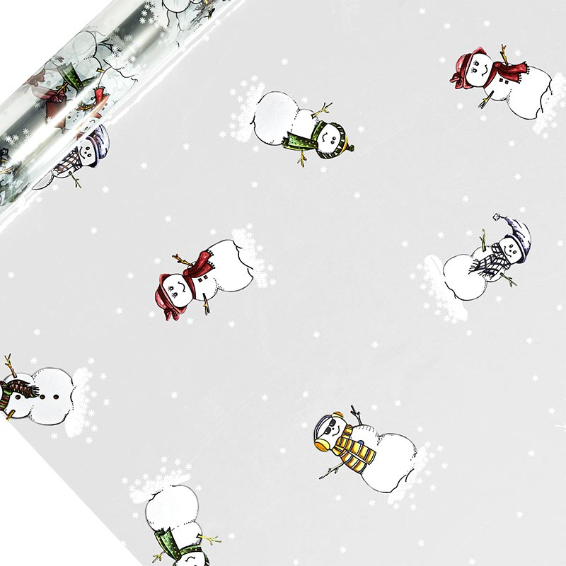 "Snowman Printed Cellophane 30"" X 100' Christmas by Paper Mart"