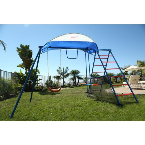 Ironkids Inspiration 100 Metal Swing Set with Ladder Climber & UV Protective Sunshade